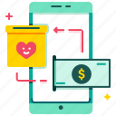app, charity, digital wallet, e-wallet, heart, online donation, smartphone icon