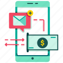 digital wallet, e-wallet, mail, message, mobile banking, payment, payment message notification icon