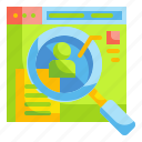 case, data, magnifying, search, studies, website icon