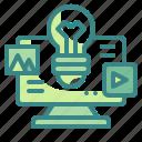 bulb, computer, creative, idea, media icon