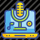 audio, laptop, microphone, music, ui icon