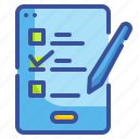 checklists, paper, pen, phone, tablet icon