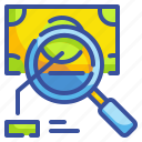 advertising, analysis, magnifying, money, paid, search icon