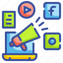 bullhorn, computer, media, promoted, shout, socia icon