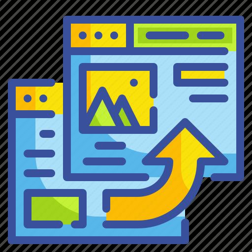 arrow, browser, content, referral, webstie icon