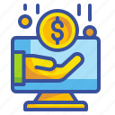 coin, computer, hand, money, sponsored icon