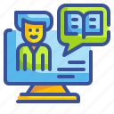 computer, content, storytelling, teach, tutorial icon