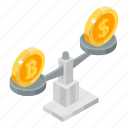 bitcoin value, measuring money, currency balance, money value, money balance, money conversion icon