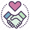 customer, deal, handshake, heart, partner, relationship icon