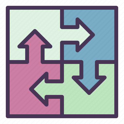 business, coordinate, integrated, jigsaw, management, process icon