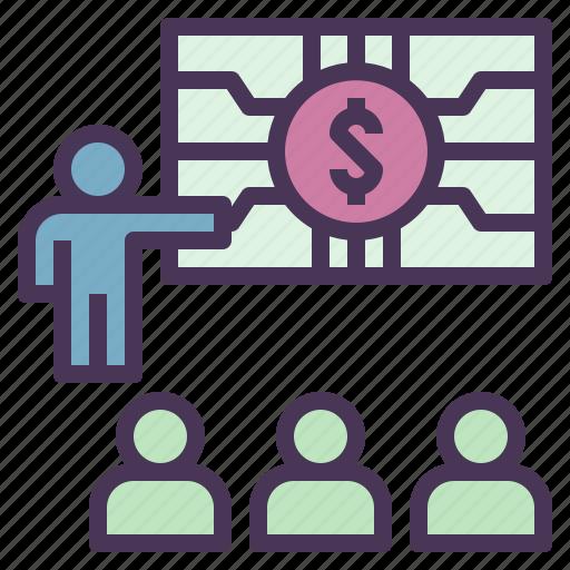 business, digital, economy, learning, money, team icon