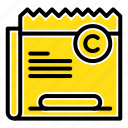 copy, copyright, file, restriction, right icon