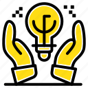 business, hand, idea, ideas, protected icon