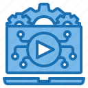 business, clip, holding, leaning, professional, using, video icon