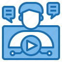 business, holding, leaning, online, professional, using, video icon