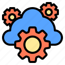cloud, connection, coworker, factory, occupation, technology, using icon