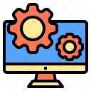 connection, coworker, factory, occupation, setting, technology, using icon