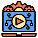 clip, connection, factory, occupation, technology, using, video icon