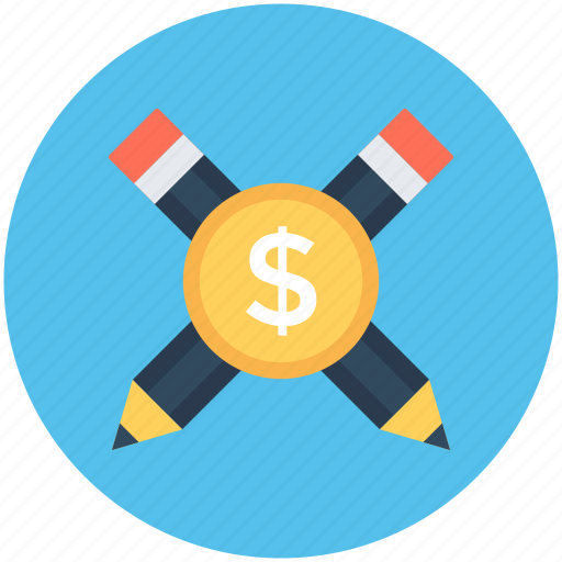 blog management, dollar, finance, pencil, writing icon