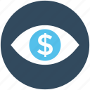 business, business view, dollar, dollar eye, eye icon