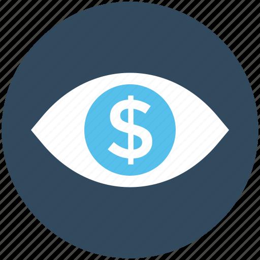 business, business view, dollar, dollar eye, eye icon