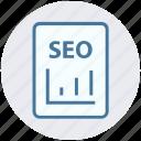 digital marketing, page, report, seo, web icon