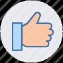 digital marketing, hand, like, thumb, thumbs up, vote icon