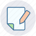 digital marketing, document, file, page, paper, pencil icon