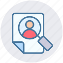 digital marketing, file, magnifier, page, paper, searching, user icon