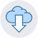 arrow, cloud, cloud computing, digital marketing, down, downloading icon