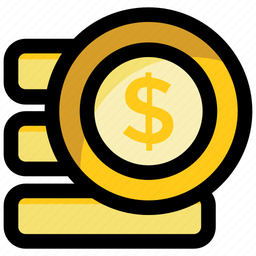cash payment, coins stack, currency, money stack, pile of coins icon