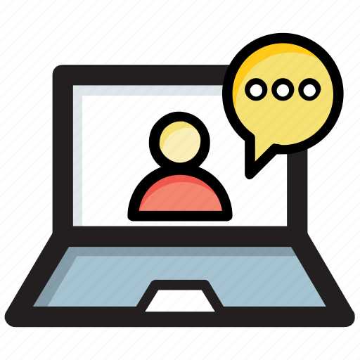 communication technology, live chat, video call, video call via laptop, video message icon