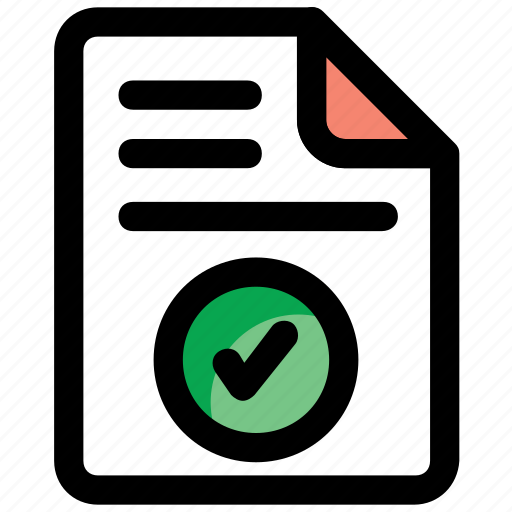 approved file, business analysis, certified file, data approved, proven document, verified document icon
