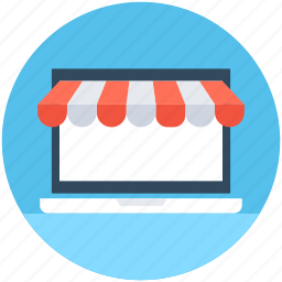 commerce, laptop, online shop, online store, shopping icon