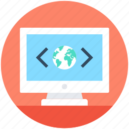 custom coding, global coding, globe, internet connection, monitor icon