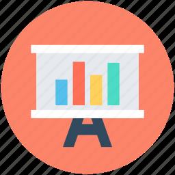 chalkboard, easel, graph presentation, presentation, presentation board icon