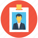 employee card, identification, identity badge, identity card, student card icon