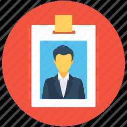 employee card, identification, identity badge, identity card, student card icon