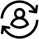 arrows, digital, refresh, reload, sync, user icon