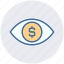 digital marketing, dollar, dollar sign, eye, view, vision icon