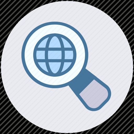 digital marketing, find, globe, magnifier, magnify, search, world icon