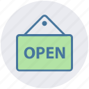 board, frame, hanging, market, open, sign, store icon