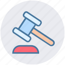 auction, bidding, gavel, hammer, law, legal insurance icon