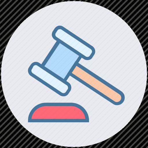 auction, bidding, gavel, hammer, law, legal insurance icon