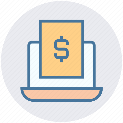 computer, digital marketing, document, dollar, file, laptop icon