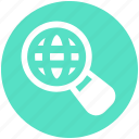 digital marketing, find, globe, magnifier, magnify, search, world icon