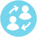 digital, discussing, information, persons, replace, sharing, users icon