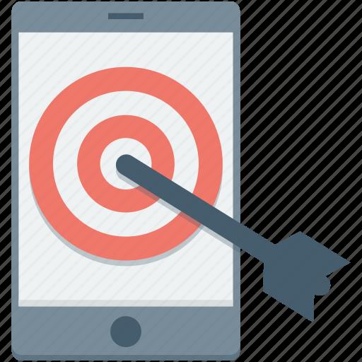 dartboard, mobile, mobile marketing, objective, smartphone icon