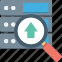 database, internet server, server rack, server uploading, uploading arrow icon