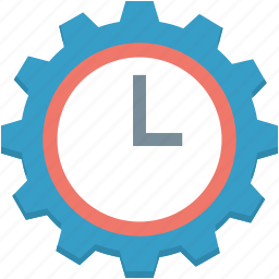 clock setting, cog, schedule, time management, time setting icon